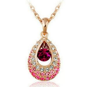 Jewelry - Pink Ombre Crystal Teardrop Necklace